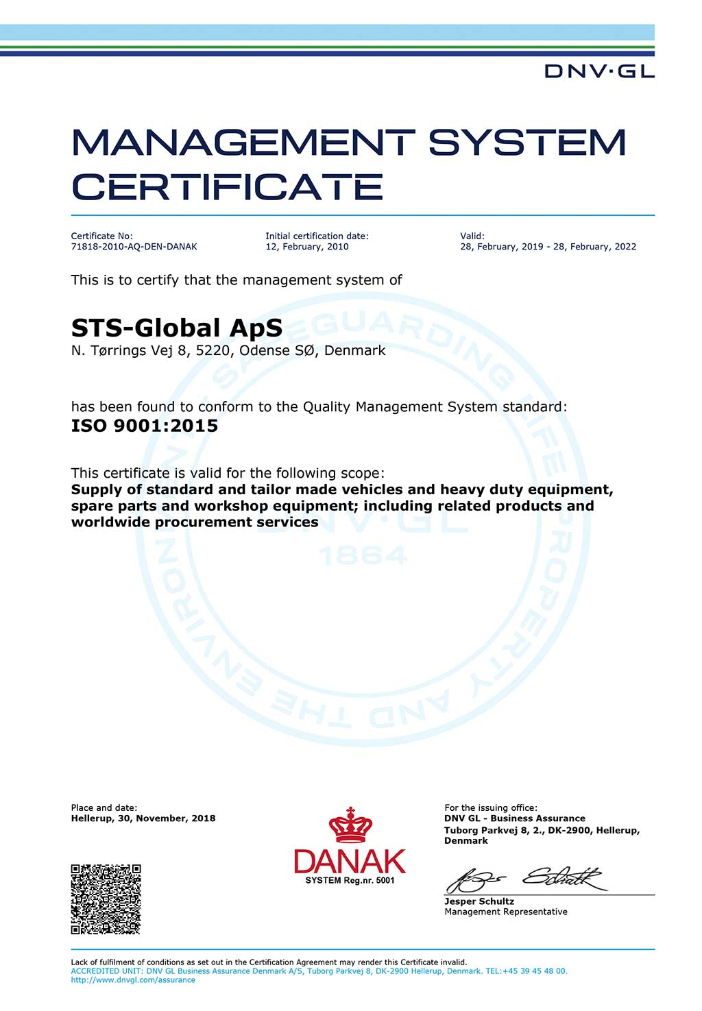 Picture of STS-global ISO 9001 management system certificate