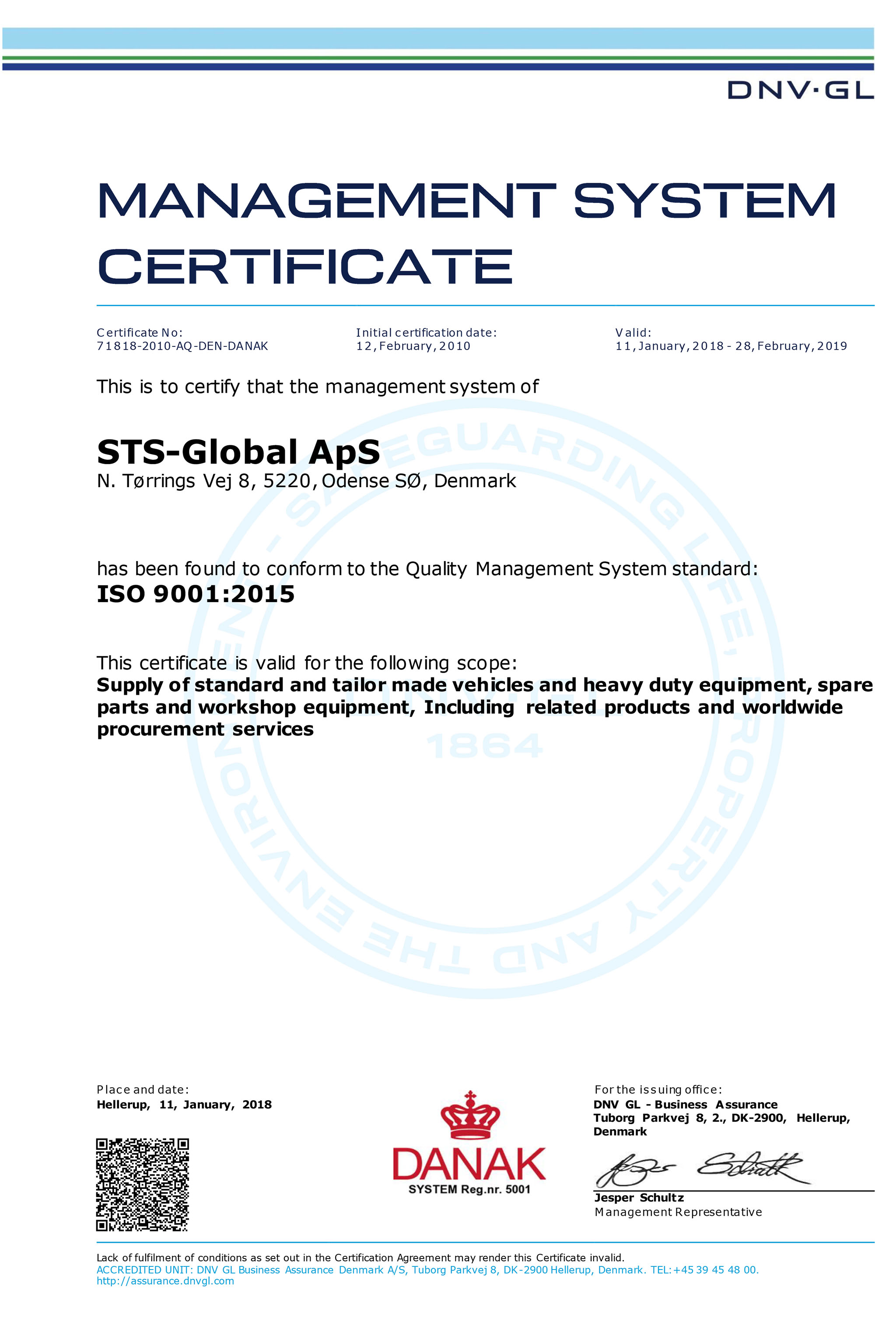 ISO 9001 management system certificate — STS-Global